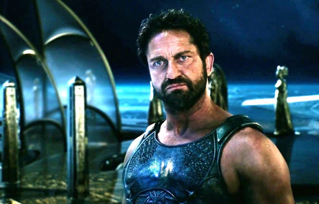 Gerard Butler looking pained in GODS OF EGYPT