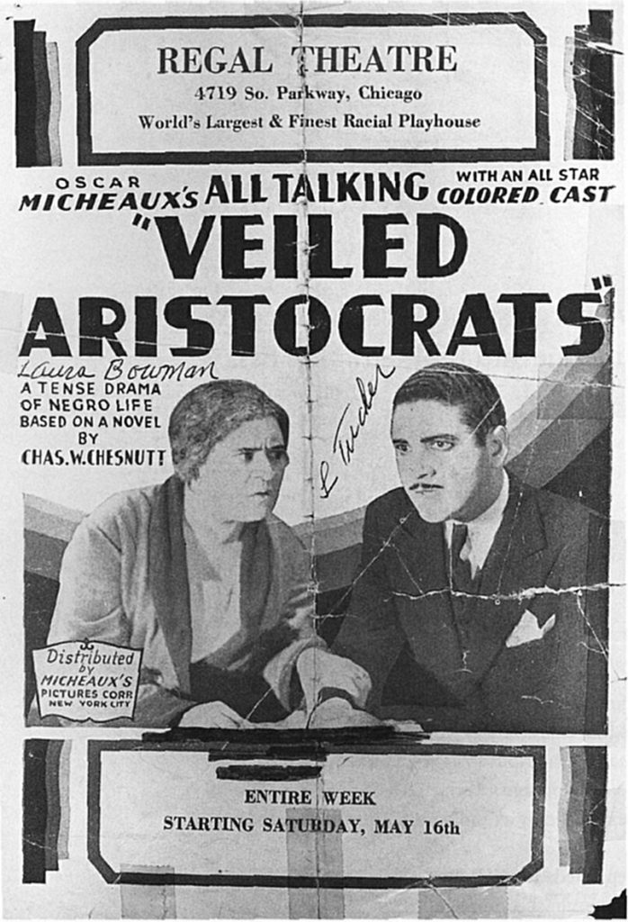 "Rare movie poster from Oscar Micheaux's 1932 ""Veiled Aristocrats"" (apparently signed by two of its stars, Lorenzo Tucker and )."