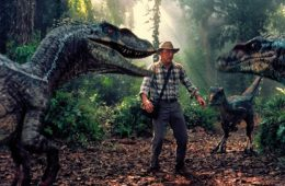Sam Neill and a bunch of velociraptors in JURASSIC PARK III (2001)