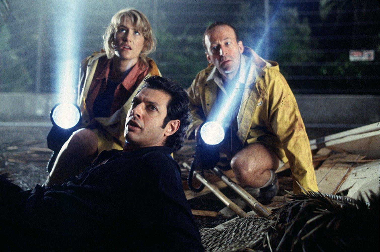 Laura Dern, Jeff Goldblum, and Bob Peck in JURASSIC PARK (1993)