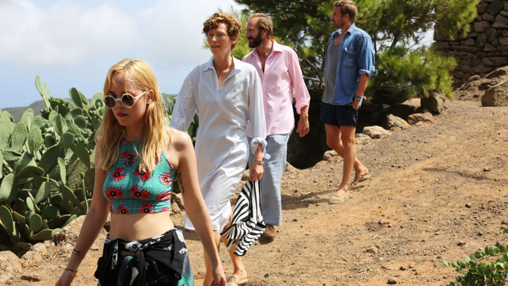 (L-R) Dakota Johnson, Tilda Swinton, Ralph Fiennes, and Matthias Schoenaerts in A BIGGER SPLASH.