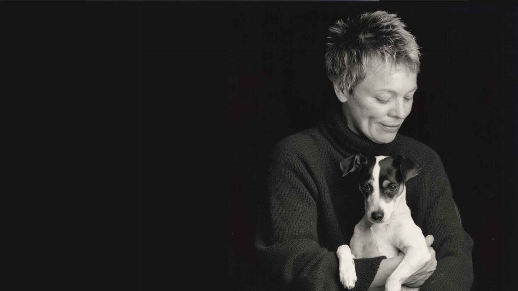 Filmmaker Laurie Anderson and her pet rat terrier, Lolabelle, subject of her film HEART OF A DOG, opening October 21 at Film Forum.  Photo by Sophie Calle. Courtesy of Abramorama.