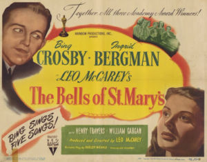 "Bing and Bergman looking a bit less than priest- and nun-like, respectively, in this vaguely holiday-tinged poster… ""Bing sings five songs!"""