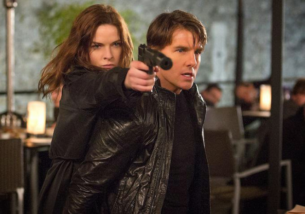 "Rebecca Ferguson and Tom Cruise in ""Mission: Impossible – Rogue Nation"""