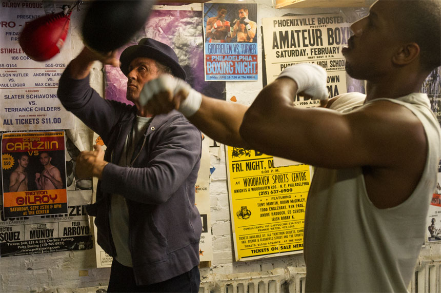 Michael B. Jordan and Sylvester Stallone in CREED.