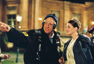 Garry Marshall on the set of Princess Diaries 2 with Anne Hathaway