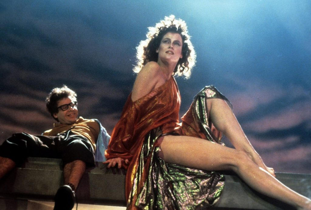 Rick Moranis and Sigourney Weaver in a particularly troubling scene in Ghostbusters (1984)