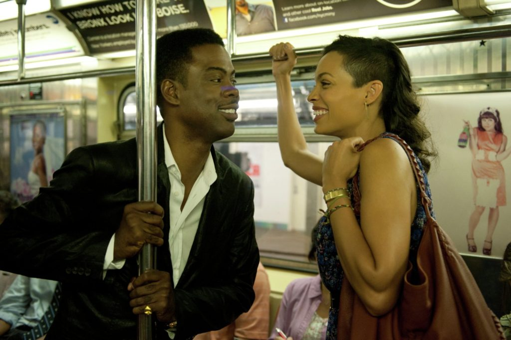 Chris Rock and Rosario Dawson cutting up in TOP FIVE.