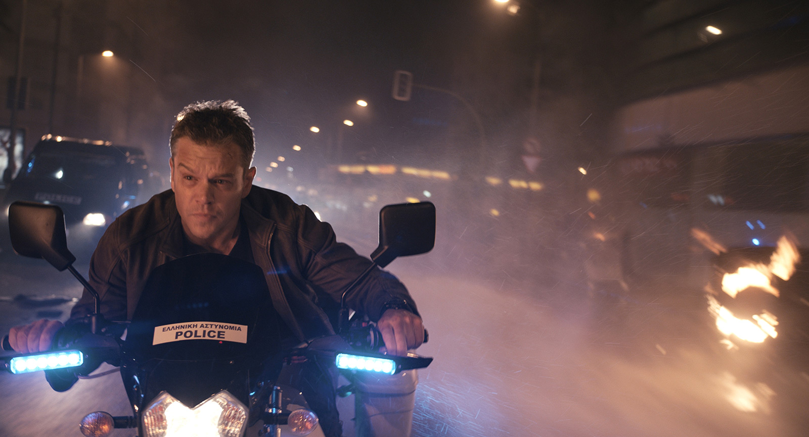 Matt Damon on a motorcycle in Athens in Jason Bourne (2016)