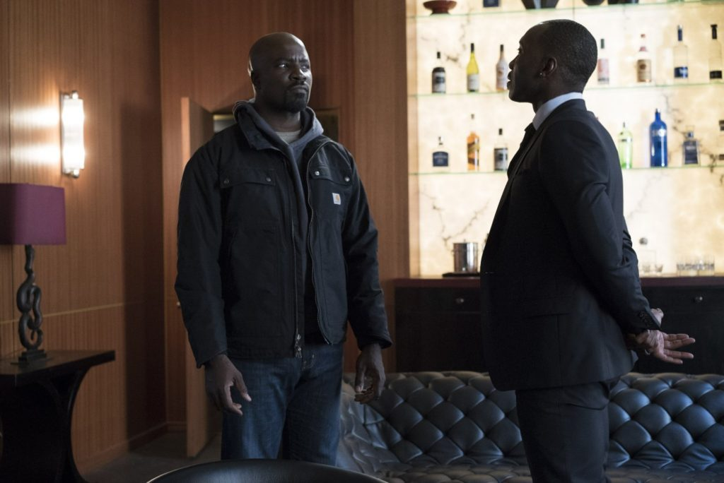 Mike Colter as Luke Cage and Mahershala Ali as Cottonmouth in LUKE CAGE.