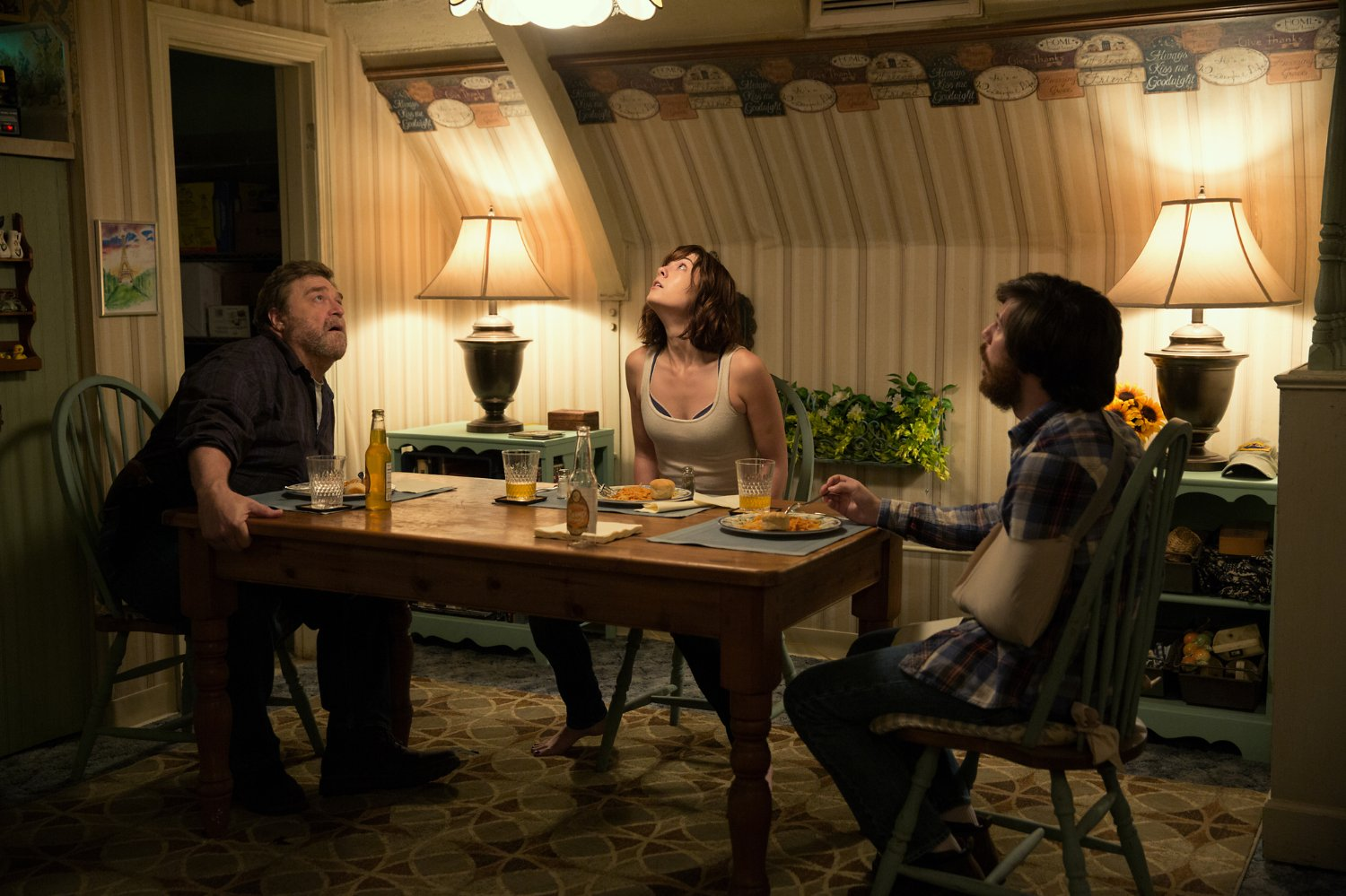 John Goodman, Mary Elizabeth Winstead, and John Gallagher Jr., in 10 Cloverfield Lane (2016)