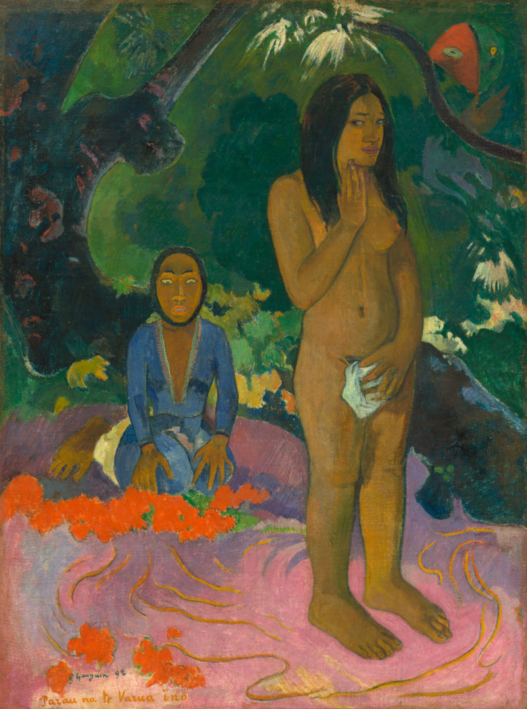 Paul Gauguin (French, 1848 - 1903 ), Parau na te Varua ino (Words of the Devil), 1892, oil on canvas, Gift of the W. Averell Harriman Foundation in memory of Marie N. Harriman