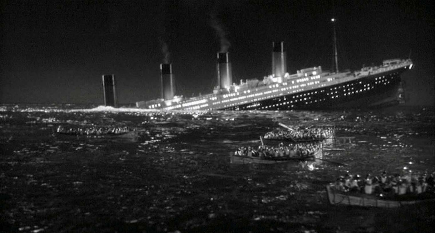 The RMS Titanic sinks in TITANIC (1943)