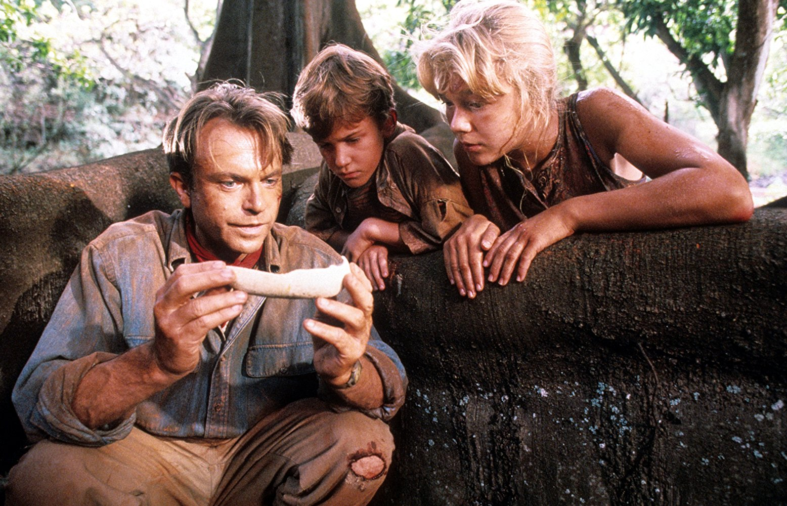 Sam Neill, Joseph Mazzello, and Ariana Richards look at a dinosaur bone in JURASSIC PARK (1993)