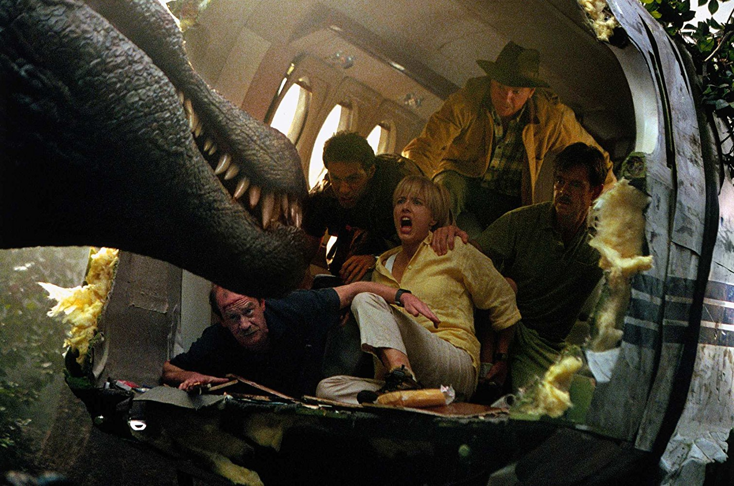 Michael Jeter, Alessandro Nivola, Téa Leoni, Sam Neill and William H. Macy in JURASSIC PARK III (2001)