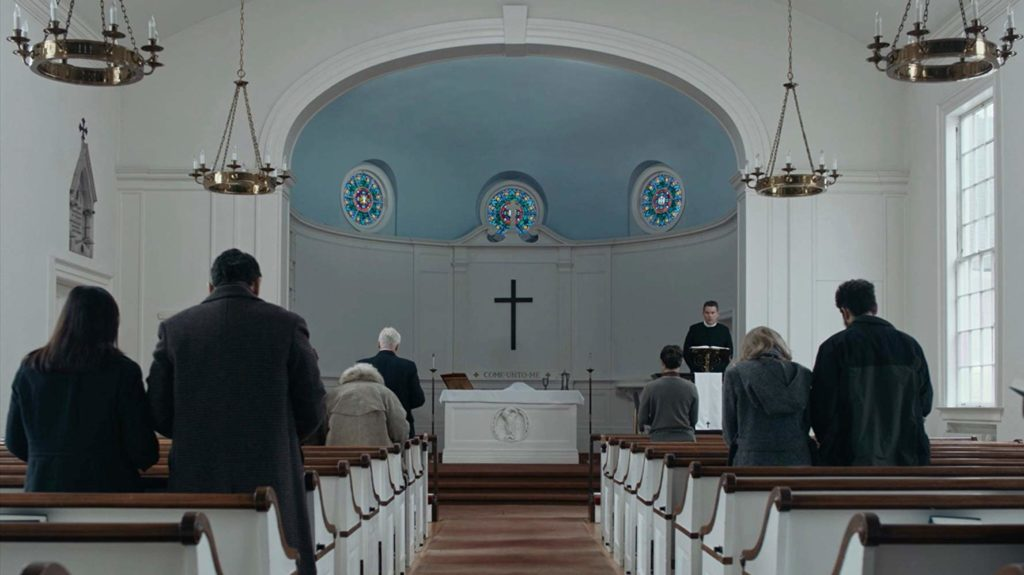 A church scene in FIRST REFORMED (2018)