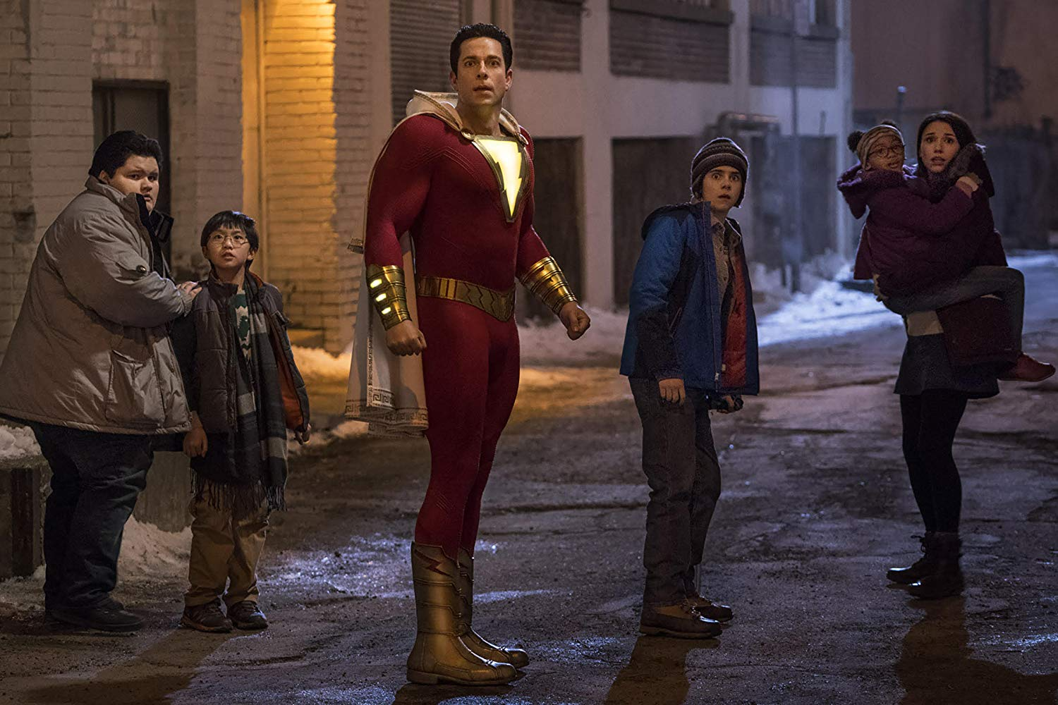 Jovan Armand, Ian Chen, Zachary Levi, Jack Dylan Grazer, Faithe Herman, and Grace Fulton in SHAZAM! (2019)