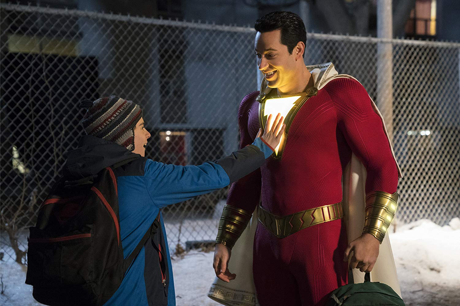 Jack Dylan Grazer and Zachary Levi in SHAZAM! (2019)