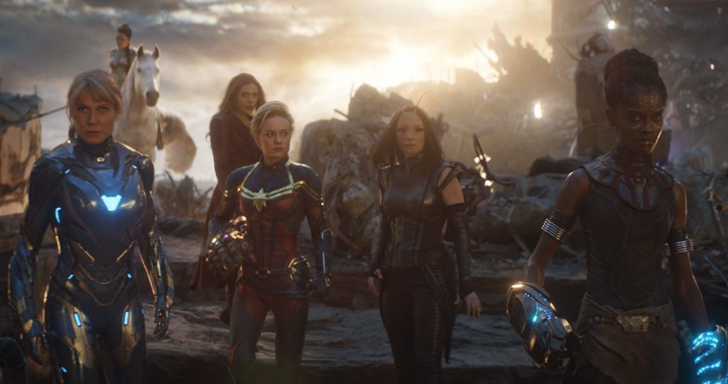 Pepper Potts, Valkyrie, Scarlet Witch, Captain Marvel, Mantis, and Shuri combine forces for a girl power moment in AVENGERS: ENDGAME (2019)