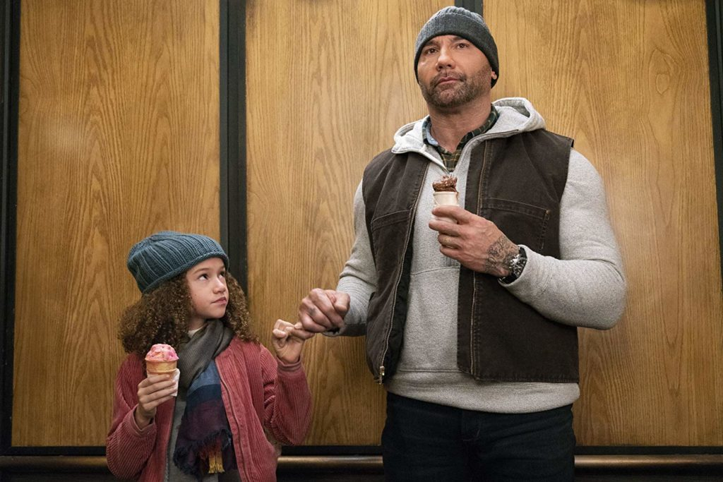 Chloe Coleman and Dave Bautista share a pinky swear in MY SPY (2020)