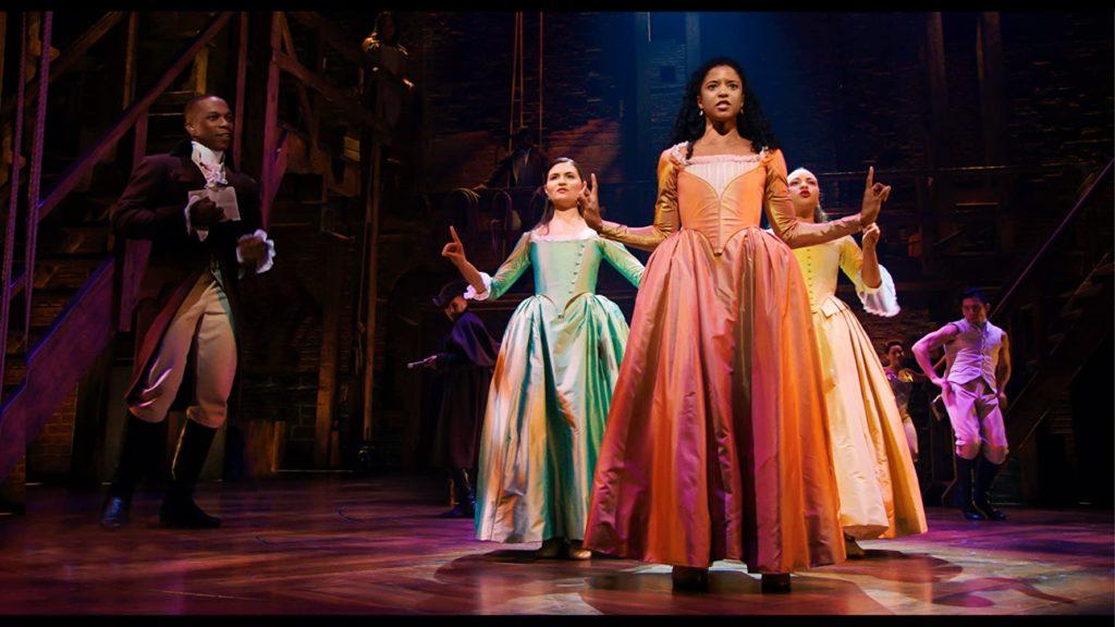 Leslie Odom Jr., Phillipa Soo, Renée Elise Goldsberry, and Jasmine Cephas Jones in HAMILTON (2020)