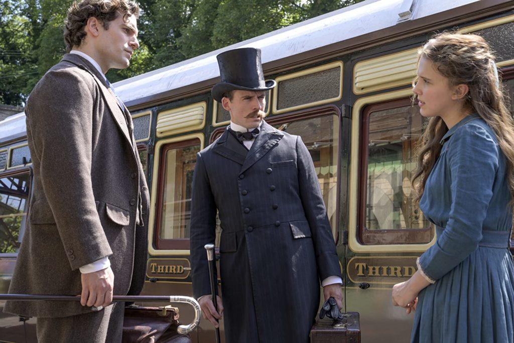 Henry Cavill as Sherlock, Sam Claflin as Mycroft, and Millie Bobby Brown as Enola Holmes in ENOLA HOLMES (2020)