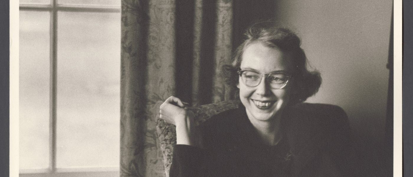 A photograph of Flannery O'Connor