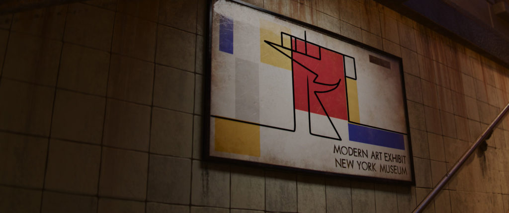 Terry moves on top of a Mondrian-inspired advertisement in SOUL (2020)