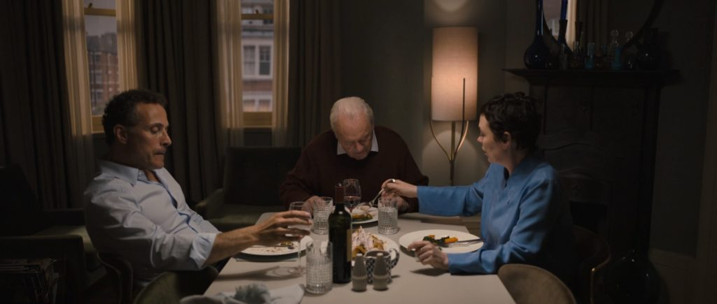 Rufus Sewell, Anthony Hopkins, and Olivia Colman in THE FATHER (2020)