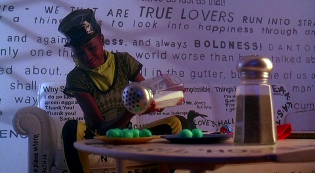 Someone uses a very large salt shaker in COOL AS ICE (1991)